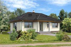 Projekt domu parterowego Corte LMB62 o pow. 77,49 m2 z dachem kopertowym, z tarasem, sprawdź! Gazebo, Outdoor Structures, House, Places, Exterior Homes, Projects, Kiosk, Home, Haus