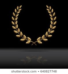Golden laurel wreath with mirror reflection on black background. Vector illustration.