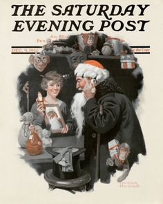 Man Playing Santa by Norman Rockwell, December 9, 1916 Issue of The Saturday Evening Post
