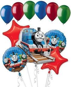 Included in this bouquet: 11 Balloons Total 1 – Thomas the Train Shape Balloon 2 – Thomas the Train Round Balloons 2 – Red Star Balloons 6 - Mixed Latex Balloons Blue, 2 Red, 2 Gree Thomas Birthday Parties, Thomas The Train Birthday Party, Birthday Party Snacks, Trains Birthday Party, Dinosaur Birthday Party, Birthday Fun, Birthday Party Decorations, Birthday Party Invitations, Train Party