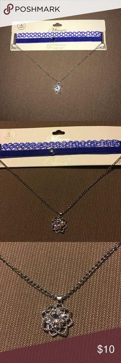 💙New 2 piece rhinestone flower pendant choker set 💙New 2 piece rhinestone flower pendant choker set. Featuring nostalgic tattoo choker and layered gemstone ribbon and chain choker with gemstone flower pendant. Jewelry