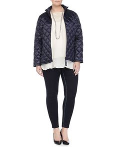 -5Z4R Marina Rinaldi Pagoda Quilted Short Puffer Jacket, Bach Embroidered Blouse, Lapponia Long Crystal Necklace  & Slim-Leg Denim Legging, Women's