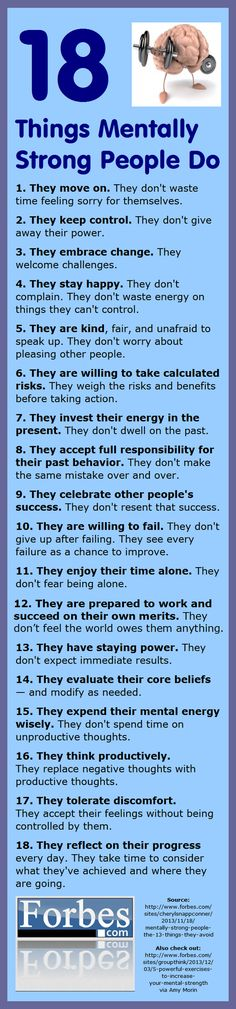 """18 Things Mentally Strong People Do"" -- Love this!! Great reminders as a daily inspiration..."