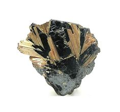 Golden Rutile Needle Crystals in Charcoal by FenderMinerals