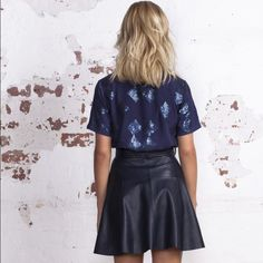 """⭐️HP NWT Ryder Poppy Sequin Tee Size 12 or L NEW WITH TAGS-- gorgeous navy embellished sequin tee. Put a feminine twist on a basic shape. Soft smooth fabric against the skin. Wear with a leather skirt or dress it down with some jeans. This is an Australian brand, and the top is labeled Size 12 & L (see picture 4) Please consult your own measurements against a top you love!  23"""" long, 19"""" wide measured flat. ⭐️ Girly Girl Host Pick Ryder Tops"""