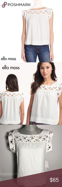 """ELLA MOSS Kalisa Cutout Top Viscose/rayon. Cap sleeves. These Ella Moss pullover are the style you've been looking for. The Ella Moss Kaliso Cutout Top have the perfect amount of casual styling and sophistication. Approx. length: 17""""L from shoulder to hem, 20""""L down center back. Bateau neckline. Sleeveless; moderate shoulder coverage. Cutout detail across yoke. Slim silhouette. Straight hem. Ella Moss Tops Blouses"""