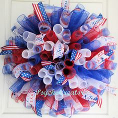 Patriotic-Texas-USA-Deco-Mesh-Wreath-Red-White-Blue-4th-of-July