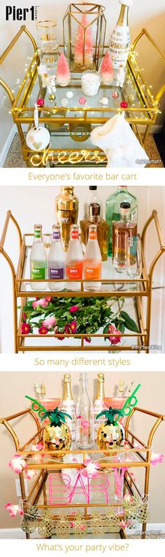 Wholesale & Bulk New Year's Eve Supplies. We think our Gold Square Bar Cart is our most popular cart because it can adapt to every mood and every style. Get one for yourself and show off your party vibe! Diy Bar Cart, Gold Bar Cart, Bar Cart Decor, Bar Carts, Decorating Your Home, Interior Decorating, Interior Design, Bar Refrigerator, Home Bar Areas