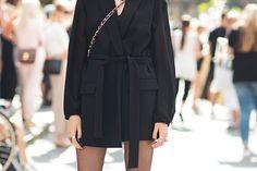 Long blazer as a dress. Love the boots!!!