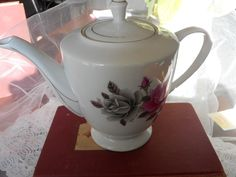 Vintage China Teapot/Tea Maker Gray and Pink Roses with Gold Trim by TreasuredMemoriesSC on Etsy