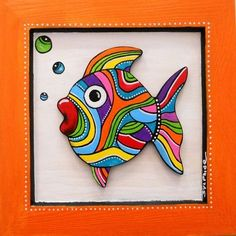 """Table of """"Bidule"""" the small colored fish, by sylphide. I adore it! Dot Painting, Fabric Painting, Stone Painting, Madhubani Art, Madhubani Painting, Art Pierre, Sea Crafts, Colorful Fish, Fish Art"""