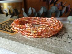 Sun Kissed Carnelian, Citrine Long Seed Bead Wrap Bracelet, Necklace