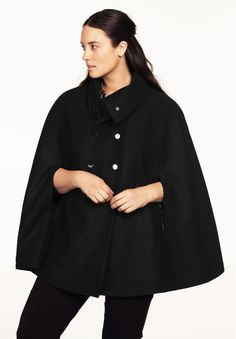 Double Breasted Cape by Ellos®   Plus Size Wool Blend Coats   Woman Within