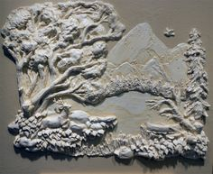 Mt.Hood and Lost Lake Oregon. Architectural Relief,Plaster High Relief, Wall sculpture,Sculpted Wall Panel,Sculpturesque Painting, Sculpted Walls, High Relief, Bas Relief