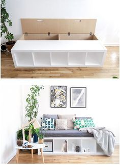 The IKEA Kallax collection Storage furniture is a vital section of any home. Elegant and wonderfully easy the shelf Kallax from Ikea , for example. Small Bedroom Designs, Bedroom Small, Bench With Storage, Hidden Storage, Ikea Storage, Storage Ideas, Ikea Organization, Bedroom Storage, Daybed Storage
