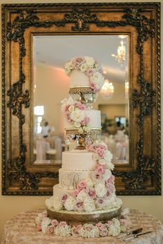 Gold + blush + ivory - 4 foot tall wedding cake by The Cake Zone ,www.thecakezone.com...The wedding is published by The Knot