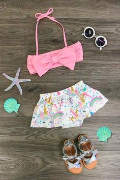 Shop cute kids clothes and accessories at Sparkle In Pink! With our variety of kids dresses, mommy + me clothes, and complete kids outfits, your child is going to love Sparkle In Pink! Unicorn Swimsuit, Baby Swimsuit, Little Girl Fashion, Kids Fashion, Kids Bathing Suits, Kids Tops, 2 Piece Swimsuits, Kids Boutique, Cute Outfits For Kids