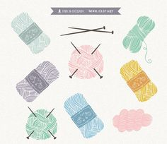 Clipart digitale, maglieria, avvertire, lana, craft, cucito, fabbricazione di carta, scrapbooking, Download immediato