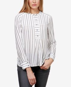 40f42a03f90f8 Lucky Brand Striped High-Low Popover Shirt   Reviews - Tops - Women - Macy s
