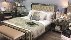 ahara Gold Mirrored King Size Bed Frame - Luxurious mirrored king size bed frame with stunning marble mirrored end board, soft gold fabric button tufted and mirrored headboard and gold trim. Bedding Master Bedroom, Bedroom Sets, Room Decor Bedroom, Gray Bedding, Queen Bedding, Boho Bedding, Luxury Bedding, Bedrooms, Simple Bedroom Design