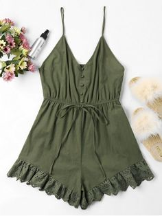 0f6fd504ce8a Low Cut Eyelet Cami Romper - ARMY GREEN S Fashion Models