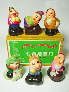 FOR SALE ! 6 dwarves with hat and mittens VINTAGE Chinese CHALKWARE clay CERAMIC figural PENCIL SHARPENERS ! http://www.ebay.com/sch/mypinkturtle/m.html?_ipg=50&_sop=12&_rdc=1