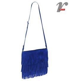 Bolsa com franjas azul cobalto!