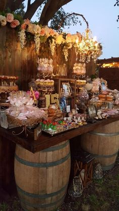 27 Rustic Wedding Decorations You Must Have A Look---wooden barrel wedding food . 27 Rustic Wedding Decorations You Must Have A Look---wooden barrel wedding food bar,. Wedding Food Bars, Candy Bar Wedding, Wedding Sweets, Rustic Wedding Bar, Wedding Favors, Wedding Reception, Quince Themes, Quince Decorations, Photo Decorations