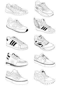 Sneakers by Caroline Sillesen Sneakers Sketch, Clothing Sketches, Drawing Clothes, Shoe Drawing, Sneaker Art, Drawing Reference Poses, Fashion Design Sketches, Art Drawings Sketches, Drawing People