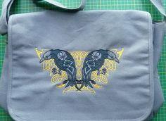 Knotwork Ravens Bag. Messenger Bag. Embroidered design cotton canvas Odin's Ravens. Hugin and Munin. Celtic knotwork