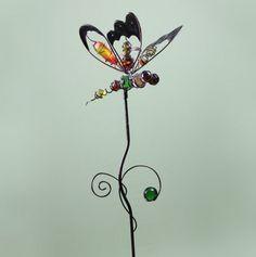 Metal/Glass Dragonfly Stake
