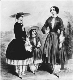 Bloomers. In this 1850 lithograph, Amelia Jenks Bloomer (right), a young woman, and a girl are shown wearing Bloomers innovative costume. GETTY IMAGES