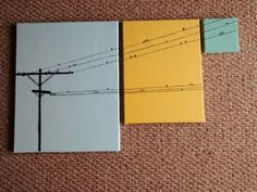 Today's snow day was spent creating this minimalistic three canvas painting of birds on a power wire. Just amateur art but simple and fun.