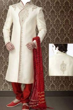 Sherwani Designs for Groom off White with Red Pyjama India