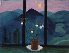 Gabriele Münter (German, 1877-1962), Fuchsie vor Mondlandschaft [Fuchsia in front of a moonlit landscape], 1928.