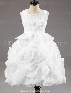 Ball Gown Knee-length Flower Girl Dress - Organza / Satin / Tulle / Polyester Sleeveless 2015 – $39.99