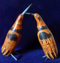 Pair Of Beautiful Handcrafted Gourd Birds Etched & Burnt Wood Design