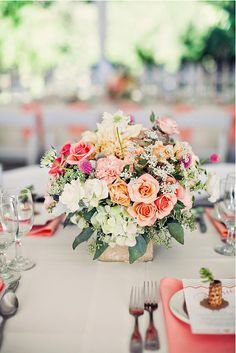 Pretty pops of coral and peach, Clayton Austin Photography