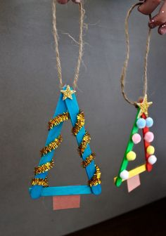 Popsicle Christmas Trees - We Love Glass Holiday Gift Guide, Holiday Gifts, Star Template, Paper Glue, Popsicle Sticks, Popsicles, Creative Gifts, Christmas Trees, Twine
