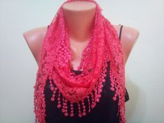 Peach pink lace scarf. Pareo by TrendyScarf on Etsy, $12.99