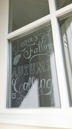 "Raamtekening herfst ""Leaves are falling autumn is calling"" Fall Winter, Autumn, Early Fall, Chalkboards, Ramen, Doodles, Bullet Journal, Window, Leaves"