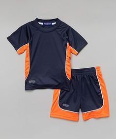 Look at this #zulilyfind! Navy & Orange Tee & Shorts - Toddler & Boys #zulilyfinds
