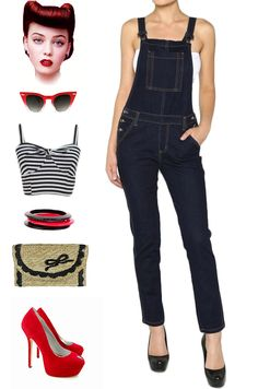 Brand new in store at Le Bomb Shop! Adorable, skinny fit, pinup dungarees / overalls in dark denim! Sizes Extra Small - Large are available here at Le Bomb Shop: http://lebombshop.net/collections/clothing-shoes-accessories-womens-clothing-skirts-1/products/dungaree-dolly-vintage-inspired-overalls-dark-denim