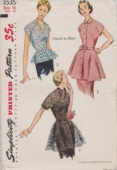 Simplicity 3535 / Vintage 1951 Sewing Pattern / Evening Blouse With Peplum / Size 16 Bust 34