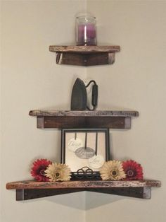 "Set of Three: 12"", 18"" and 24"" Rustic, Floating Wood Corner Shelf, Solid Pine, Antique, speakers, tv Joel's Antiques & Reclaimed Decor http://www.amazon.com/dp/B00CLFDQKS/ref=cm_sw_r_pi_dp_AwE8vb0MSNNCT"
