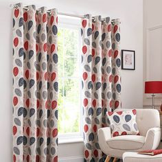 Red Turin Lined Eyelet Curtains
