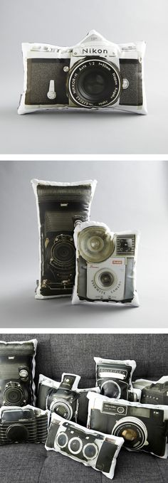 vintage camera pillows. i want them all.