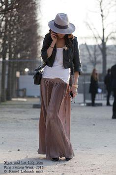 feminine maxi skirt + leather jacket. so unexpectedly chic
