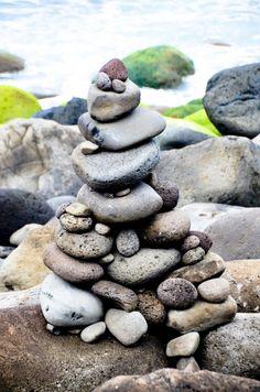Rock Pile in Kauai, Hawaii 2012 Beach Stones, Stone Art, Rock Art, Rock And Roll, Kauai Hawaii, Rocks, Travel, Patio, Spaces
