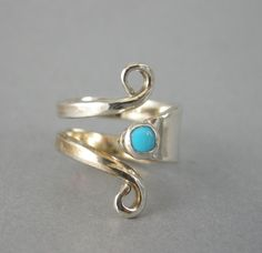 RING, STERLING SILVER, Handmade From Sterling Silver Fork,Elegant, Will Size from 7 to 8 1/2, 4 mm Turquoise Cabochon ,High Polished . by McWilliamsBopArt on Etsy